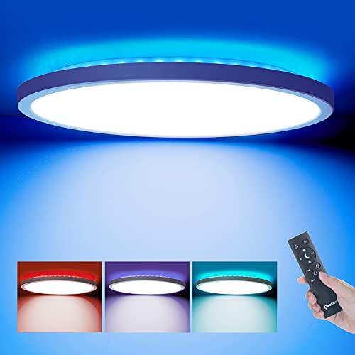 Oeegoo LED Deckenleuchte RGB Farbwechsel, Ultraslim 24W Deckenlampe Dimmbar mit Fernbedienung,...
