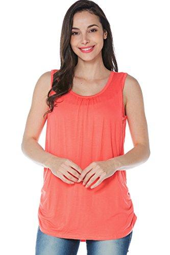 Smallshow Damen Mutterschafts Stillshirt Tank Tops Sommer Ärmellos Stillen Kleidung Orange XL