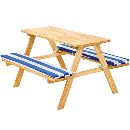 TecTake 800807 Kinderpicknickbank mit Polsterauflage, Kinder Sitzgruppe aus Holz, Picknicktisch für 4 Kinder,...