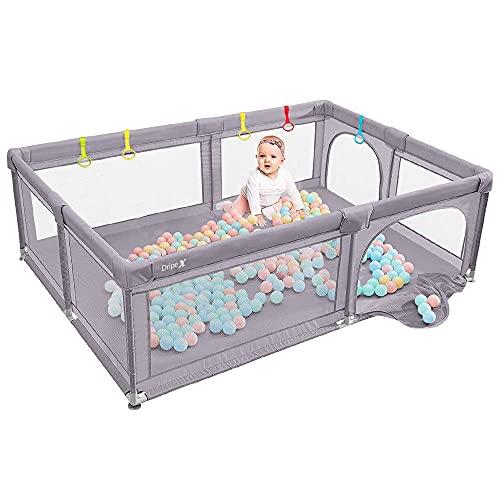 Dripex Laufstall Baby Laufgitter Absperrgitter mit atmungsaktivem Netz 150x200cm Schutzgitter Krabbelgitter...