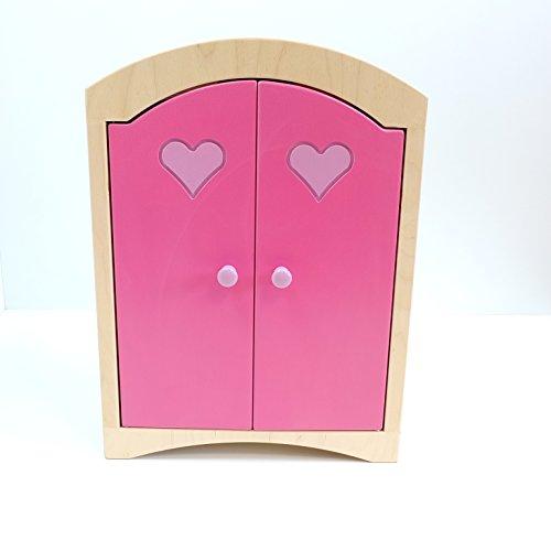 Gebrüder Vinkelau GmbH Puppenkleiderschrank inkl. 5 Kleiderbügeln / Material: Holz / Farbe: Natur/Pink/rosa...