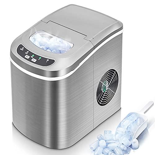 Eiswürfelmaschine 15kg Eiswürfel/24H, 6-13Minuten Produktionszeit Leise Ice Maker mit 2.2L Wassertank,...