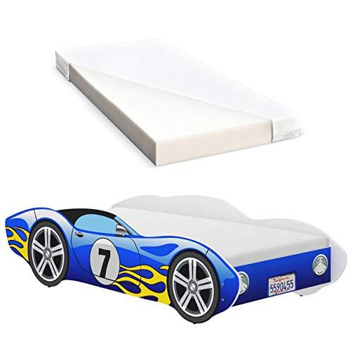 iGLOBAL Kinderbett Autobett Cars Bett Jugendbett Juniorbett Bett mit Lattenrost Stellage Schaumstoffmatratze...