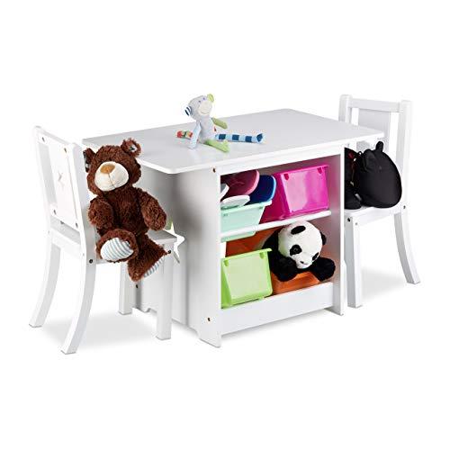 Relaxdays Kindersitzgruppe ALBUS mit Stauraum, 1 Tisch und 2 Stühle aus Holz, Kindertischgruppe für Jungen...