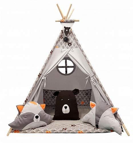 Izabell Kinder Spielzelt Teepee Tipi Set für Kinder drinnen draußen Spielzeug Zelt Indianer Indianertipi mit...