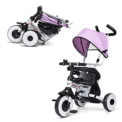 GOPLUS 4 in 1 Dreirad, Kinderdreirad Klappbar, Tricycle ab 1 Jahre bis 5 Jahre, Kinderfahrrad Kinderwagen...