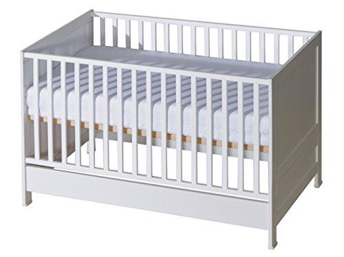 Belivin® 2in1 Babybett, Gitterbett 140x70cm weiß | umbaubar zum Juniorbett Jugendbett inkl. Matratze |...