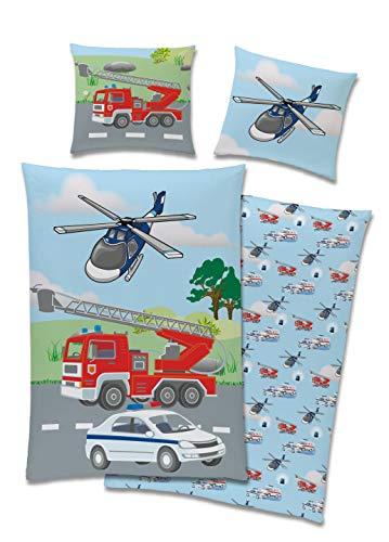 TexIdea Polizei Feuerwehr Bettwäsche Set · Wende-Motiv · Bett-bezug 135x200 cm · Kopfkissen-bezug 80x80 cm...