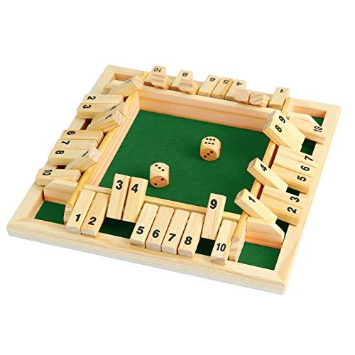 NXACETN Holz Brettspiel 2 Würfel Shut The Box Würfelspiel Classic 4-seitiges Holzbrett Weihnachten...