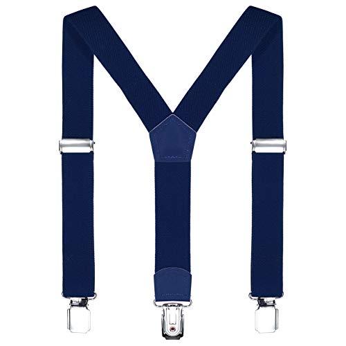 DonDon Kinder Hosenträger dunkelblau 2 cm schmal längenverstellbar für eine Körpergröße von 80 cm bis...