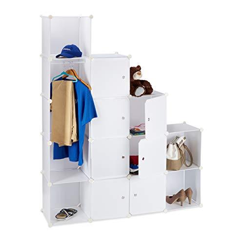 Relaxdays Kleiderschrank Stecksystem mit 12 Fächern, großer Garderobenschrank aus Kunststoff, 145,5 x 145,5...