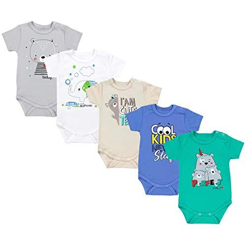 TupTam Unisex Baby Kurzarm Body mit Aufdruck Spruch 5er Pack, Farbe: Junge 4, Größe: 74