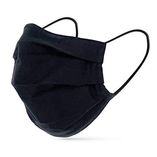 tanzmuster ® Gesichtsmaske schwarz für Erwachsene - Stoffmaske mit Nasenbügel und Filtertasche -...