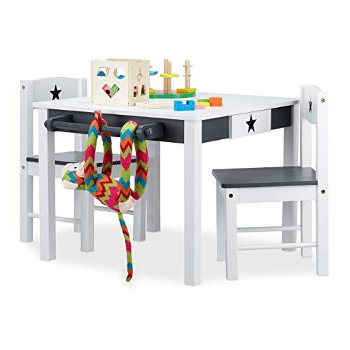 Relaxdays, weiß-grau Kindersitzgruppe Star, Tisch u. 2 Stühle, aus Holz, Kindertischgruppe für Jungen und...