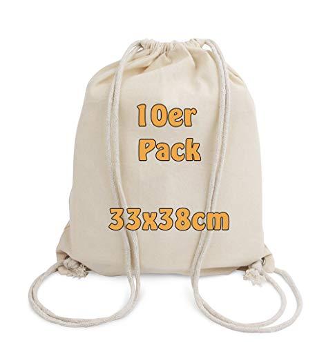 Cottonbagjoe Baumwollrucksack für Kinder   klein, 33x38cm   mit Kordelzug, Natur   33x38cm   Turnbeutel  ...