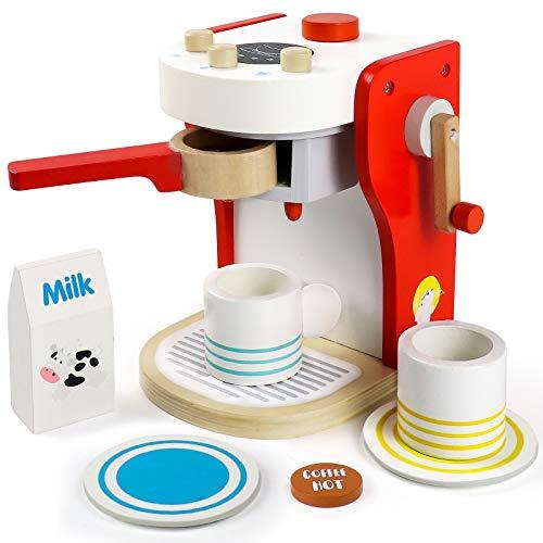 Kaffeemaschine Kinder Holz Rollenspiel Holzspielzeug Küche Haushaltsgeräte mit Tasse, Milchbox und Kaffeepad...