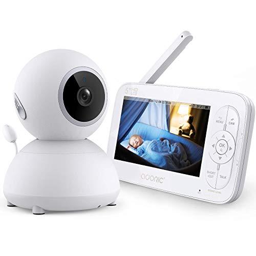 Babyphone mit Kamera,Adoric Baby Monitor 5 Zoll 720P IPS HD Bildschirm,Nachtsicht,Zwei Wege Audio, Temperatur-...