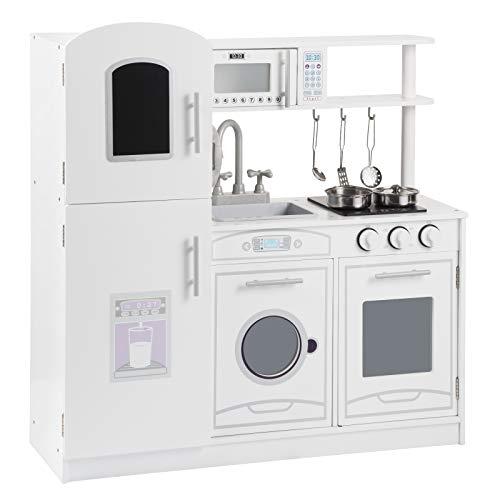 WOLTU KKE002 Kinderküche Spielküche aus Holz mit Zubehör, Kinderrollenspiele für Kinder inkl. 5tlg...