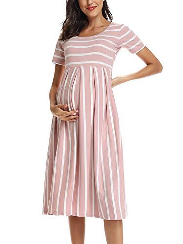 Love2Mi Damen Kurzarm Umstandskleid Schwangerschafts Kleid Streifen Knielang A-Line Umstandsmode, Dunkelrosa...