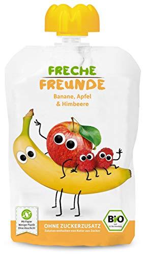 Freche Freunde Bio Quetschie Banane, Apfel & Himbeer, Fruchtmus im Quetschbeutel für Babys ab 6 Monaten,...