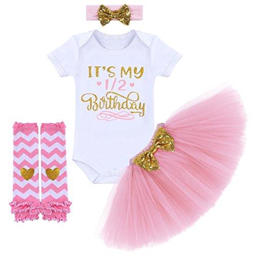 FYMNSI Kleinkinder Baby Mädchen 1. 2. 1/2. Geburtstag Party Outfit Prinzessin Kleid Baumwolle Kurzarm...