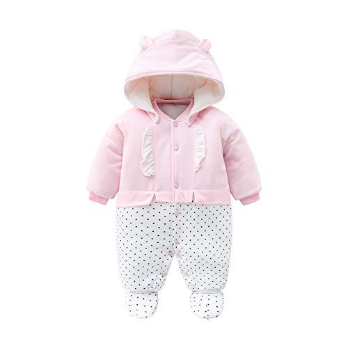 Baby Mädchen Strampler Winter Schneeanzug mit Kapuze Overall Baumwolle Abnehmbarer Hut Outfits Langarm Rosa...