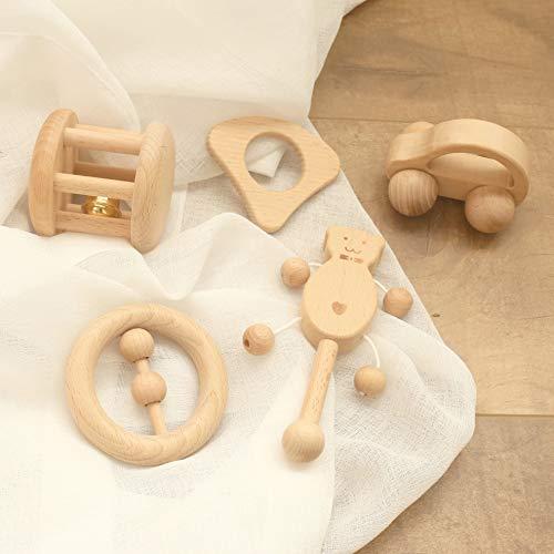 Mamimami Home Baby Spielzeug Buche Holz Teether Rattle 5PC Montessori Spiel Gym Baby Krippe Spielzeug...
