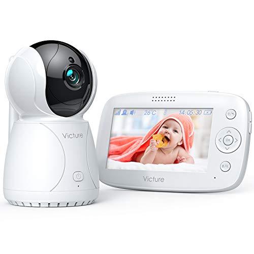 Victure Babyphone mit Kamera, Videoüberwachung Smart Baby Monitor und Audio, 4,3 Zoll, 3200mAh Akku, Zwei...
