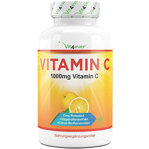 Vitamin C 1000mg - 365 Tabletten im Jahresvorrat - Time Released Effekt - Laborgeprüft - Vitamin C +...