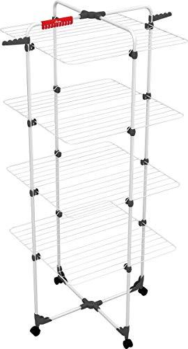 Vileda Mixer 4 Wäscheständer, 40 m Leinenlänge, 4 Ebenen für 4 Waschladungen, Flex-Gelenk, rollbar, Stahl