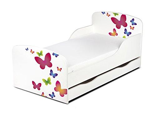 Leomark Einzelbett aus Holz - Schmetterlinge - Kinderbett mit Schubladen für Bettwäsche, Stauraum, Holzbett...