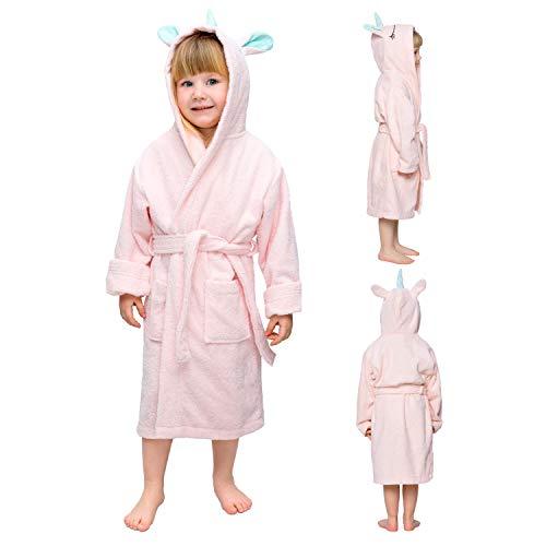 Twinzen Kinderbademantel Einhorn Junge und Mädchen - 100% Baumwolle OEKO-TEX®