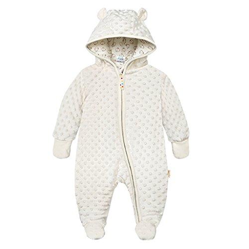 Baby Winter Fleece Overall mit Kapuze Schneeanzüge Footed Strampler Spielanzug Jumpsuit, Beige 3-6 Monate