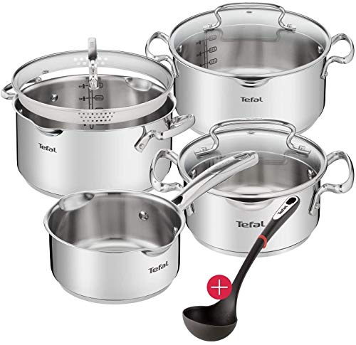 Tefal A859S7 11-Teiliges Induktion Topfset + Glasdeckel mit Siebfunktion + Ingenio Suppenkelle und...