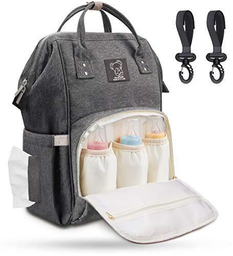 Wickelrucksack Baby Wickeltasche Groß mit Kinderwagenhaken, Multifunktionale Babytasche mit Großer...