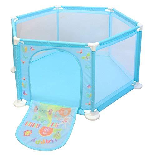 deAO Baby- und Kleinkinder Laufstall und Bällebad-Set mit 50 bunten Bällen für den Innenbereich (BLAU...