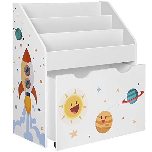 SONGMICS Spielzeugregal, Bücherregal für Kinder, Kinderzimmerregal mit 3 Fächern und herausziehbarer...
