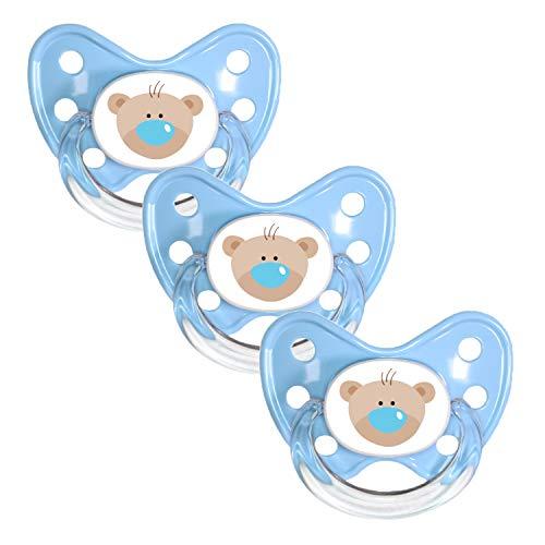 Dentistar® Schnuller 3er Set - Nuckel Silikon in Größe 1 von Geburt an, 0-6 Monate - zahnfreundlich &...