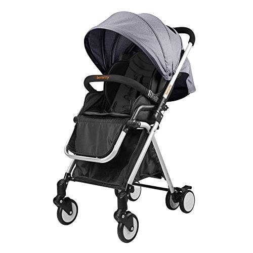 Besrey leicht Kinderwagen Buggy mit Liegeposition klein klappbar mit Regenschutz- grau
