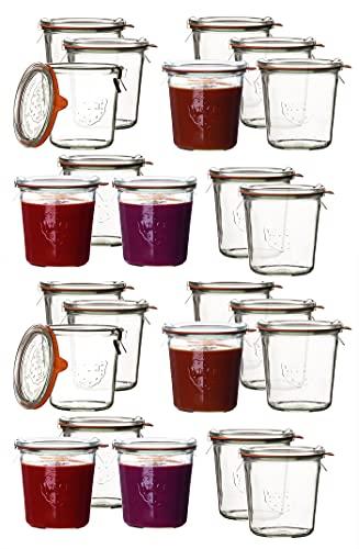 24 Weck Gläser 1/2 Liter Sturzglas Einmachgläser Sturzgläser Weckgläser / inkl Einkochringe Klammern...