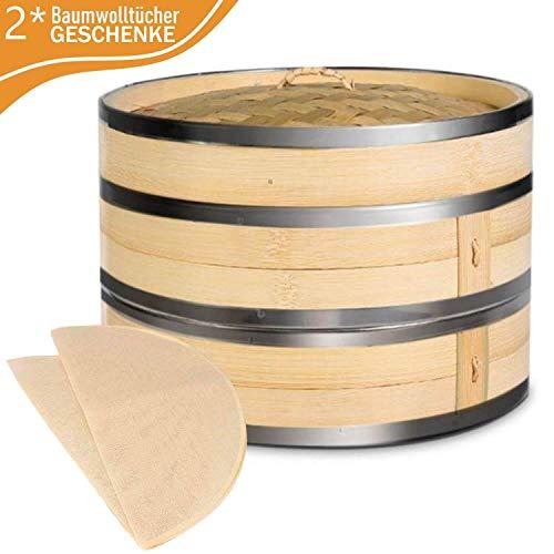KYONANO Dampfgarer Bambus, 2 Etagen Bambusdämpfer 18cm mit Deckel + 10 Baumwolltücher, Bambus Dampfkorb...