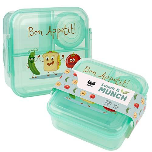OLWO Lunchbox-Bentobox für Kinder und Erwachsenen, Brotdose für Kindergarten und Schule mit Unterteilung...