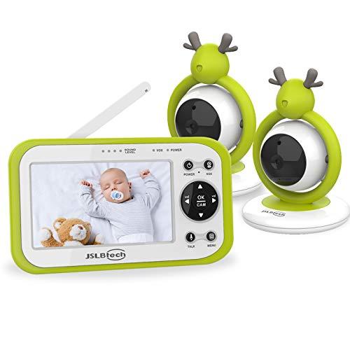 JSLBtech Video Babyphone mit 2 kamera 4,3' LCD Bildschirm, Automatischer Nachtsicht, Temperaturüberwachung,...