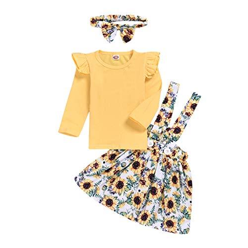 catmoew Mädchen Sets (6M-4Y) Säuglingskind Kind Spitze Langärmliges Hemd + Rückenrock + Haarband...