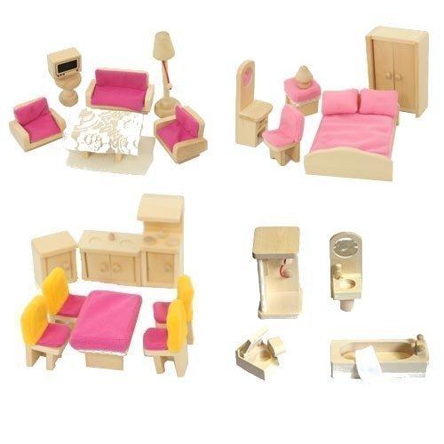 Freda Holz Puppenhausmöbel - 28 teiliges Zubehör Set für Puppenhaus mit rosa Hussen und Bezügen