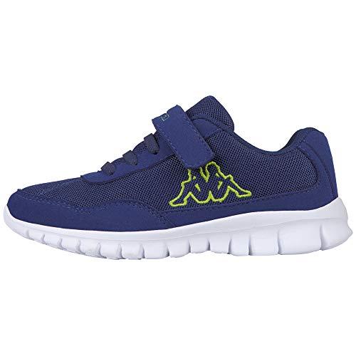 Kappa Jungen Unisex Kinder Follow Sneaker, Blue/Lime, 34 EU