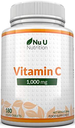 Vitamin C 1000 mg hochdosiert - für Immunsystem & Kollagen - Versorgung für 6 Monate - 180 Tabletten -...