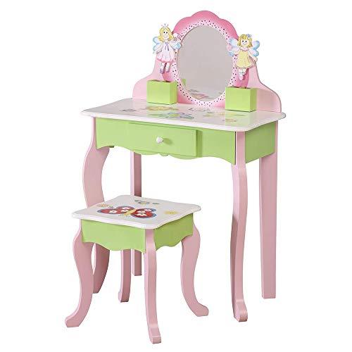 WODENY Kinder Schminktisch und Hocker | Kinder-Waschtischgarnitur | Mädchen Kommode Tisch |...