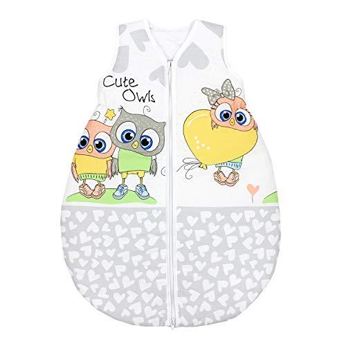 TupTam Unisex Baby Schlafsack ohne Ärmel Wattiert, Farbe: Eulen mit Herzballons/Grün, Größe: 92-98