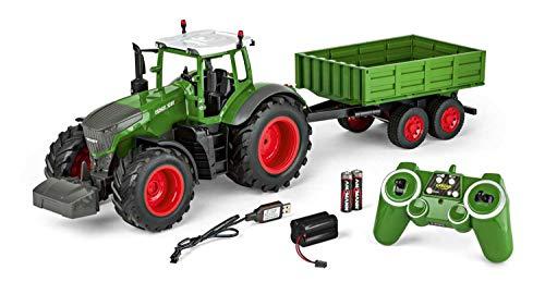 Carson 500907314 - 1:16 RC Traktor mit Anhänger 100% RTR, Ferngesteuertes Fahrzeug, Baufahrzeug mit...